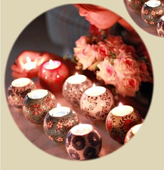 淘宝网 包邮 热卖陶瓷手绘烛台 欧式复古烛台 浪漫摆件 买一送2蜡烛