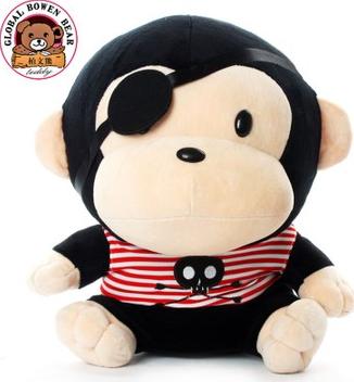 [柏文熊]专柜正品海盗猴子/超萌可爱毛绒玩具公仔