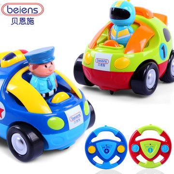 贝恩施儿童卡通遥控车宝宝玩具音乐无线汽车模型警车