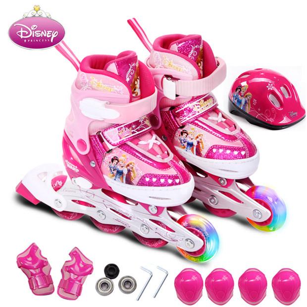 迪士尼轮滑鞋溜冰鞋儿童男女可调旱冰套装滑冰鞋