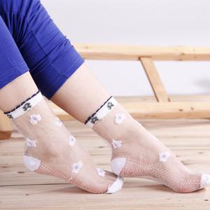 纯棉底蕾丝花边短丝袜(10双)