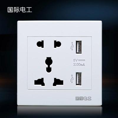 国际电工 五孔多功能 带双usb插座面板